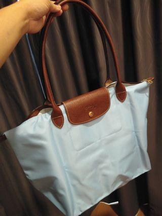 Longchamp Le Pliage Long Handle ( Ocean Blue)