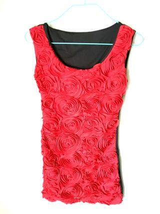 100%new紅色立體玫瑰花連身短裙