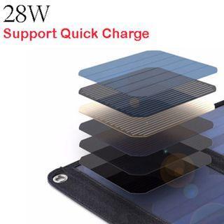 Foldable Solar Panel Charger (28W) 可摺式太陽能充電板 (28W, QC快充 )