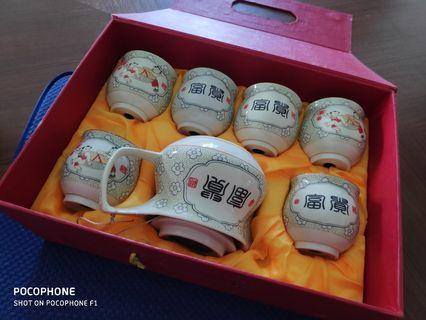 Tea Set with Champagne Glasses