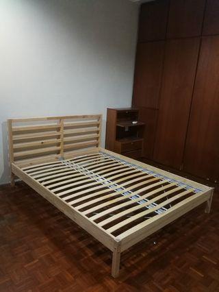 IKEA Queen Bed frame + Slatted Bed Base (150x200cm)