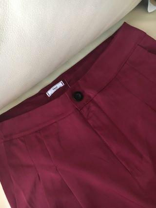 Vintage style Korean high waist Burgundy red pants trousers wide leg