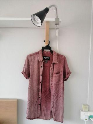 Mens Factorie Red Short Sleeved Shirt