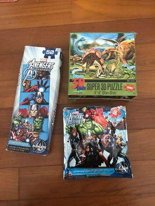 Avengers puzzles and 3D dinosaur puzzles