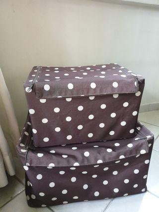 Brand Reisenthel Brown Polka dot Design Cloth Storage Box Set