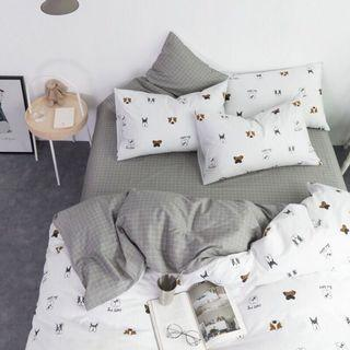 現貨 純棉 單人床包四件套組 狗狗條紋 格紋