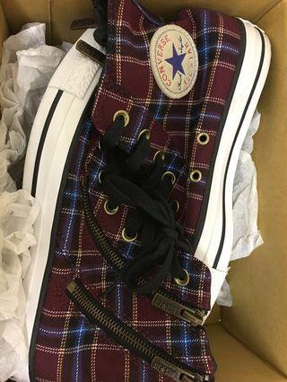 🚚 賠本賣_converse酒紅復古線條帆布鞋