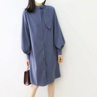 Rihanna Round Collar with Drape Lantern Sleeves Dress