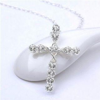 925 Sterling Silver Sparkling Classic Cross Crystal Pendant Necklace
