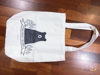 Bear canvas tote bag