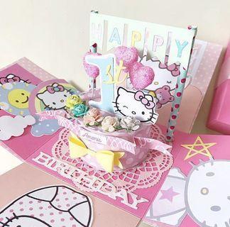 Happy 1st birthday hello kitty explosion Box Card