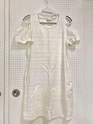 White Cotton Front Lace Dress