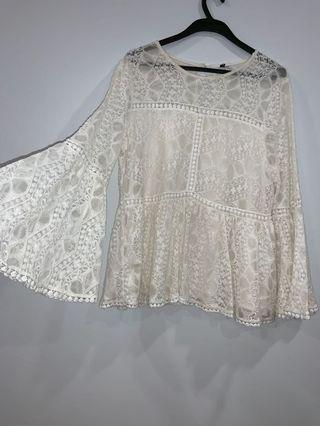 bohemian lace bell sleeve top