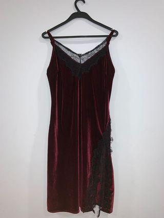 wine red lacy dress