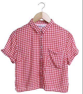 Red Checkered Blouse