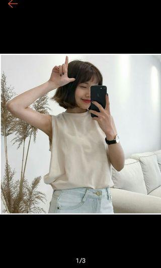 🚚 素色夏季寬鬆韓版百搭簡約背心無袖T恤