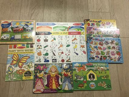 Melissa and Doug colouring, learning mats and puzzles and erasable crayons