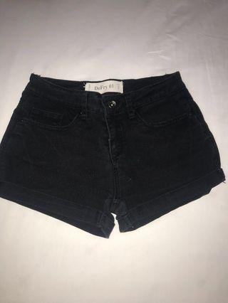 Black Denim Skinny Shorts low waist