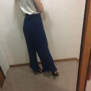 Navy chiffon pleated high waist wide legged pants 深藍色雪紡高腰闊腳長褲