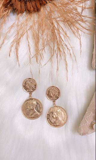 Antique Roman Style Gold Coin Earrings