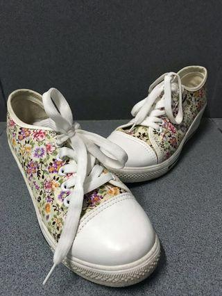 Floral sneaker wedges