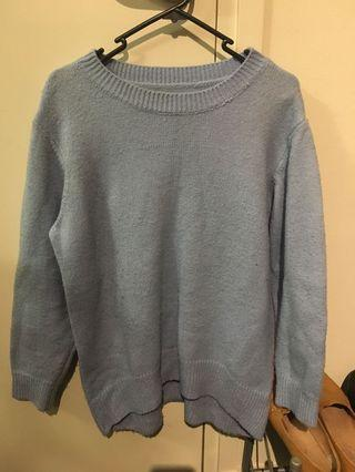 Baby blue long sleeve knit top
