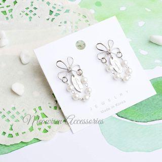 韓國蝴蝶珍珠鏈耳環