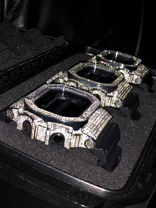 GX-56BB-1 in CUSTOM chrome metal silver with high quality Austrian crystals. Bling bling G-shock , g shock with crystals , gshock , CASIO