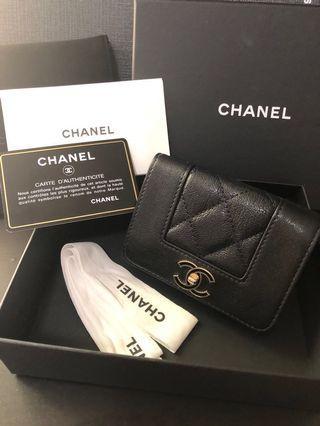 100%real 95%new chanel cavier short wallet in black fullset 三摺短銀包