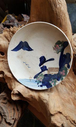 🚚 早期日本北國風情陶盤