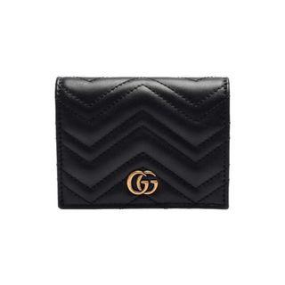 GUCCI 466492 DRW1T 1000 GG Marmont 絎縫紋牛皮金屬雙G LOGO暗釦卡夾/零錢包(黑)-新品