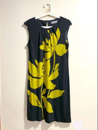 Wallis black and yellow green floral dress