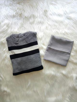 Sweater + hijab segiempat polos