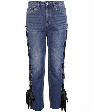 Monki self tie ribbon jeans