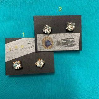 🚚 金銀兩色鑽石耳環