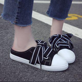 Black White Sneakers Slip on Tie On Ribbon