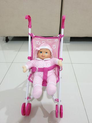 Baby doll & stroller