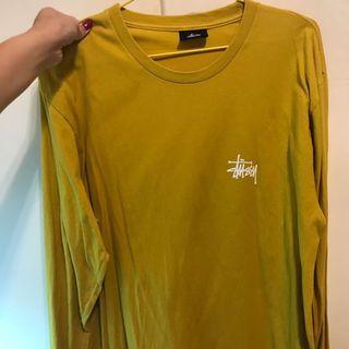 stussy黃色長版上衣