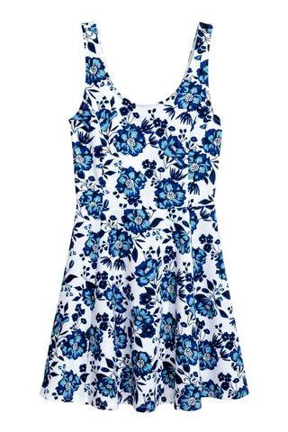 Blue Floral Jersey Dress