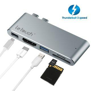 "USB C Hub, LeTouch 5 in 1 Dual Type C Adapter Thunderbolt 3 USB-C 3.0 Ports Dongle, HDMI 4K SD/Micro SD Card Reader for MacBook 13""/15""/MacBook Pro 2018/2017/2016  - # 1287"