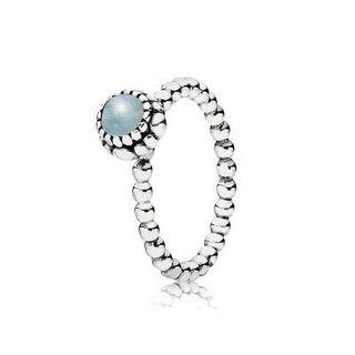 PANDORA march birthstone ring - aquamarine and silver 52
