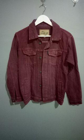 Jacket jeans warna maroon #jacketjeans #mauvivo