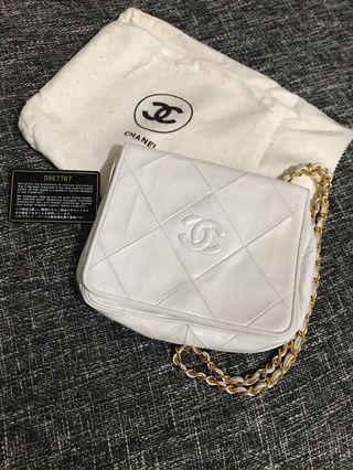 Chanel vintage 中古老香菱格紋小書包相機包方胖子woc 白❤️