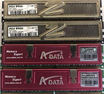 ADATA and OCZ DDR2 800 2G RAM each