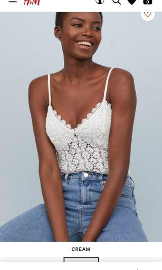 H&M Bodysuit flower white DICARI