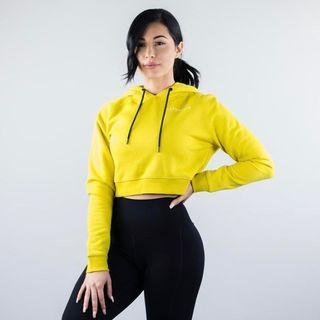 Yellow Alphalete Cropped Hoodie