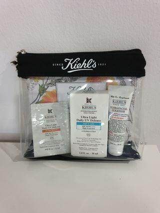 Kiehl's Ultra Light Daily UV Defense Aqua Gel Sunscreen + Ultra Facial Cleanser + samples