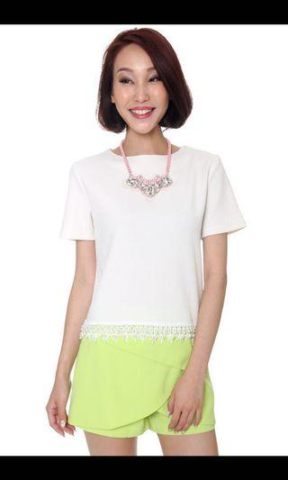 🚚 MDS Drops of Pearls Top in White XS