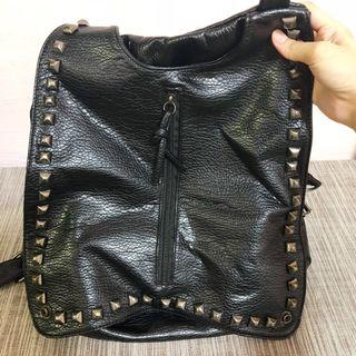 Black Studded Backpack/Slingbag