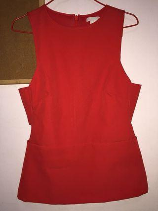 Red H&M Cut Out Top +FREE GIFT